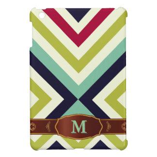 Colorful Retro Stripe Monogram Pattern iPad Case