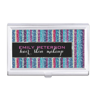 Colorful Retro Stripes Glitter Pattern 3 Blue Tint Business Card Holder