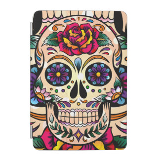 Colorful Retro Sugar Skull Flowers & Roses iPad Mini Cover