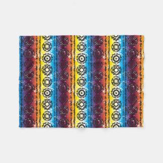 Colorful Retro Tie Dye Batik Design Fleece Blanket