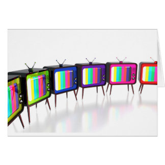 Colorful retro tv's card