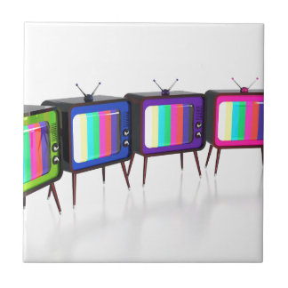Colorful retro tv's tile