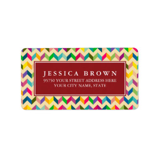 Colorful Retro Zigzag custom return address label