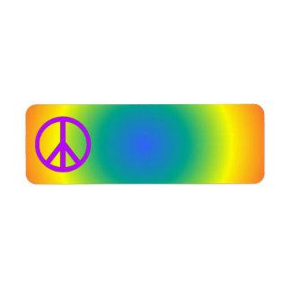Colorful return address Peace sticker