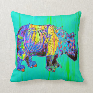Colorful Rhino Pillow