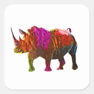 Colorful Rhinoceros Square Sticker
