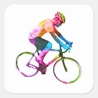 Colorful Road Cyclist Square Sticker