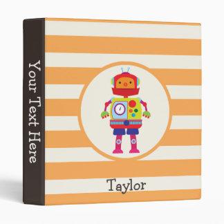 Colorful Robot on Orange Stripes 3 Ring Binder