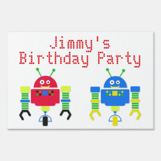 Colorful Robots Birthday Party Yard Sign