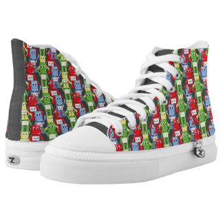 Colorful robots illustration high tops