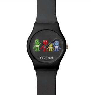 Colorful robots illustration watch