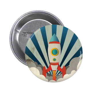 Colorful Rocket w/ Blue Rays and White Smoke 2 Inch Round Button