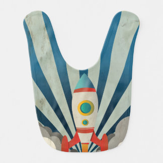 Colorful Rocket w/ Blue Rays and White Smoke Baby Bibs