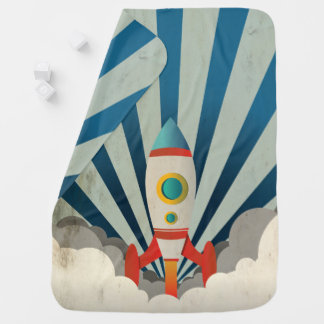 Colorful Rocket w/ Blue Rays and White Smoke Baby Blankets