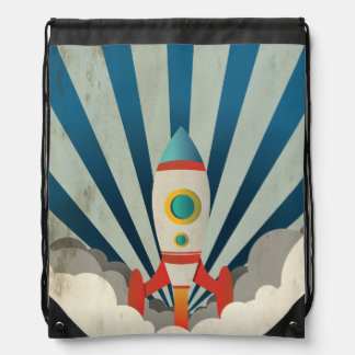 Colorful Rocket w/ Blue Rays and White Smoke Drawstring Bag