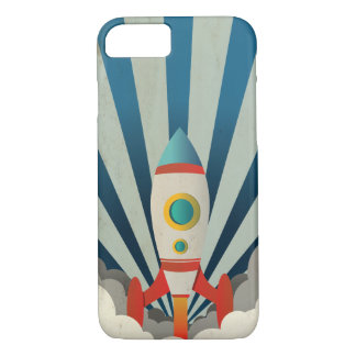 Colorful Rocket w/ Blue Rays and White Smoke iPhone 8/7 Case