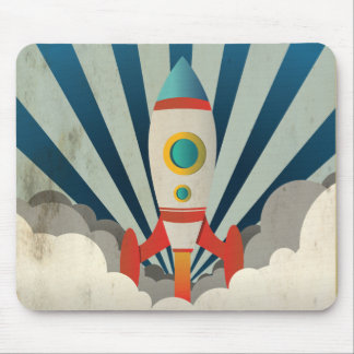 Colorful Rocket w/ Blue Rays and White Smoke Mouse Pad