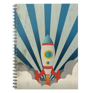 Colorful Rocket w/ Blue Rays and White Smoke Notebook