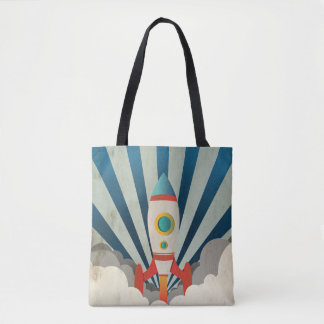 Colorful Rocket w/ Blue Rays and White Smoke Tote Bag