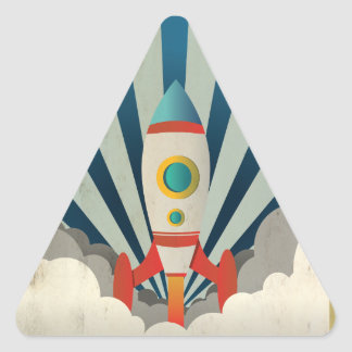 Colorful Rocket w/ Blue Rays and White Smoke Triangle Sticker