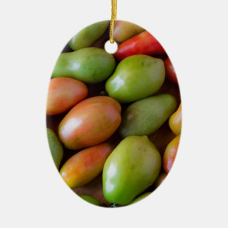 Colorful_Roma_Tomatoes Ceramic Oval Ornament