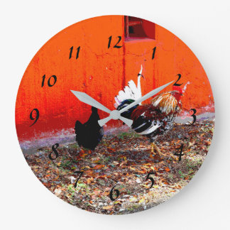 Colorful Rooster and Hen Large Clock