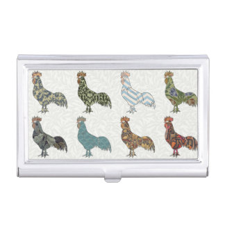 Colorful Rooster Pattern Business Card Holder