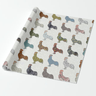 Colorful Rooster Retro Pattern Wrapping Paper