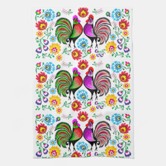 Colorful Roosters Boho Pattern Kitchen Towel