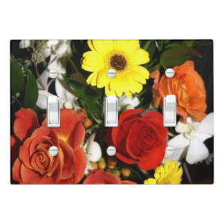 Colorful Rose and Daisy Floral Bouquet Photograph Light Switch Cover