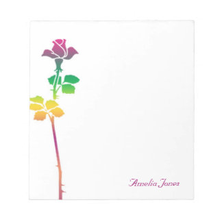 Colorful Rose Personalized Notepad