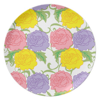 Colorful Roses and Vines Plates