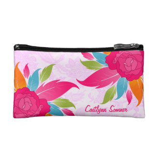 Colorful Roses Floral Personalized Makeup Bag