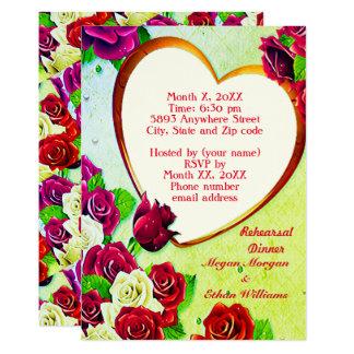 Colorful Roses & Heart Frame Rehearsal Dinner Card