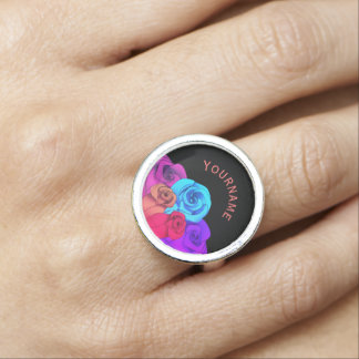 Colorful roses name photo ring