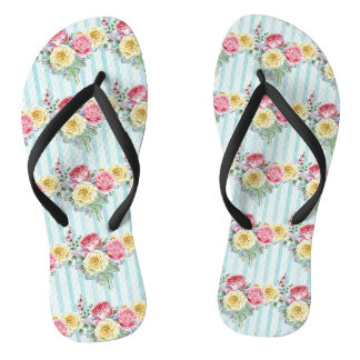 Colorful Roses Pattern Flip Flops