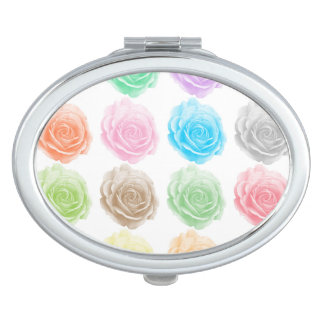 Colorful roses pattern travel mirror