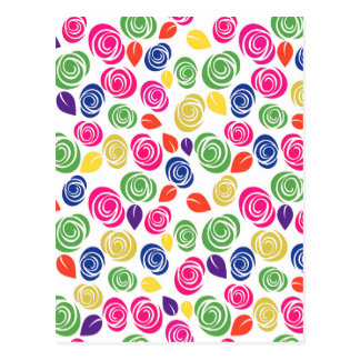 Colorful roses postcard