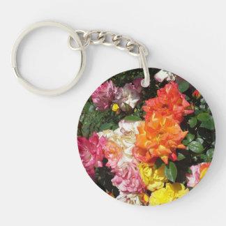 Colorful Roses Single-Sided Round Acrylic Keychain
