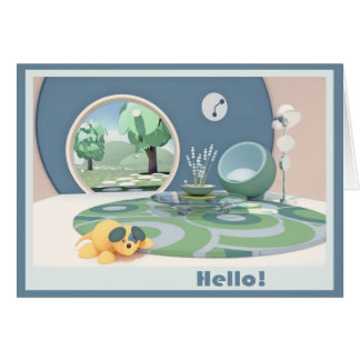 "Colorful Round Room ""Hello"" card"