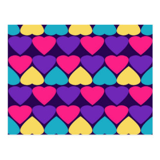 colorful row of hearts postcard