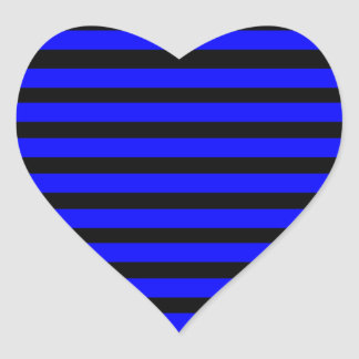 Colorful Royal Blue and Black Striped Pattern Heart Sticker
