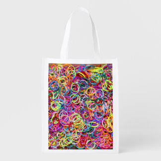 Colorful Rubberbands Reusable Grocery Bag