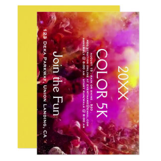 Colorful runners 5K event invitations. Card