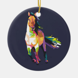 Colorful Running Horse Stallion Equestrian Ceramic Ornament
