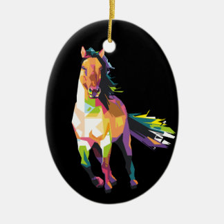 Colorful Running Horse Stallion Equestrian Ceramic Ornament