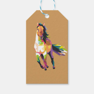 Colorful Running Horse Stallion Equestrian Gift Tags