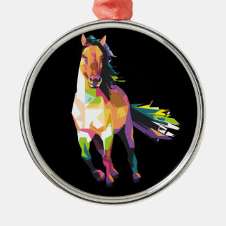 Colorful Running Horse Stallion Equestrian Metal Ornament