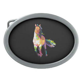 Colorful Running Horse Stallion Equestrian Oval Belt Buckle