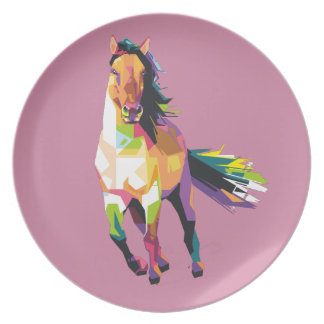 Colorful Running Horse Stallion Equestrian Plate